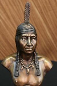 Rare Indian Native American Art Chief Eagle Bust Bronze Marble Base Statue Gift