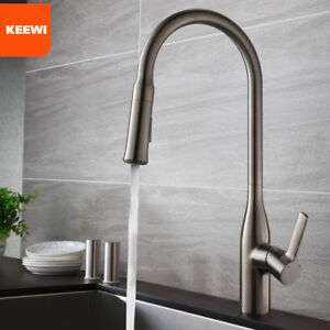 Keewi Brushed Nickel Pull out Kitchen Faucet, Solid Brass & Ceramic Cartridge
