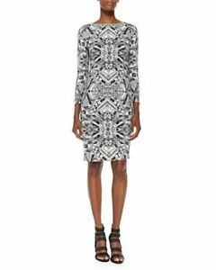 Escada Black & White Geometric Print Dress IT 40 US 4 $1995 NWT 5016324