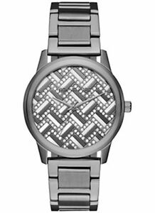 NEW MICHAEL KORS Women's Hartman Gunmetal Crystal Glitz Bracelet Watch MK3593