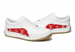Supreme LV Shoes White Red Sport Sneaker Size 7.5 US 1000% Authentic