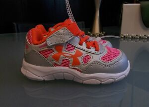 NEW WITH TAGS BABY GIRLS SIZE 5 MULTI COLOR UNDER ARMOUR SNEAKERS