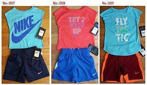 New Nike Shorts Set T Shirt Sports 2 Piece Girls 2T 3T Outfits MSRP $44.00