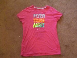 Nike Girls Graphic T Shirt Youth XL Pink Sport Play Flyer Than Most