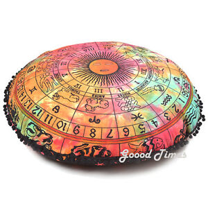 Pouf Round Bohemian Meditation Mandala Ottoman Cover Cushion Pillows Floor Large