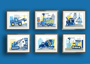 construction trucks car nursery art prints bedroom bedding wall art decor 6 pics