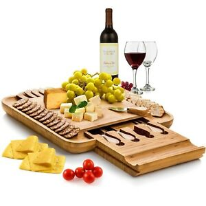 New Beautiful 100% Natural Bamboo Cheese Board amp; Cutlery Set with Drawer