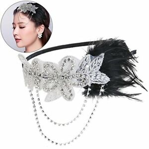 Black Feather Headband Flapper Chain Flower Hair Accessories Fancy Party Dress