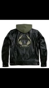 Harley Davidson Men Camaraderie Black Leather Jacket Hoodie 3 in 1 M 97077-09VM