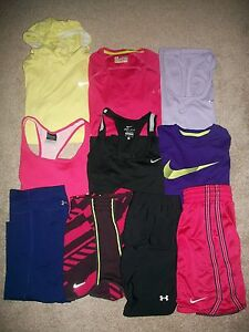 LOT OF 10 WOMENS SIZE M NIKE UNDER ARMOUR WORKOUT YOGA ATHLETIC TOPS SHORTS PANT