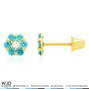 14k Yellow Gold Diamond And Blue Topaz Flower Screwback Stud Earrings 0.70Ct
