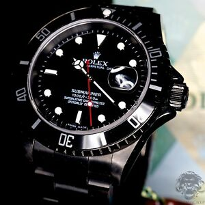 Rolex Submariner 16610 DLC PVD Coated - Stainless Steel - Kings Life Red Series