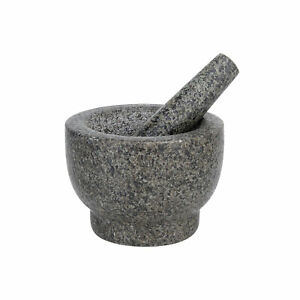 Mortar and Pestle Set Polished Heavy Granite Anti Scratch Pad 500ml 2.1 Cup