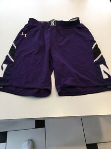 Game Worn Used Northwestern Wildcats Basketball Shorts Under Armour Size XL...