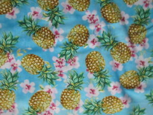 PINEAPPLES PINEAPPLE REALISTIC TROPICAL HIBISCUS PINK TEAL COTTON FABRIC BTHY
