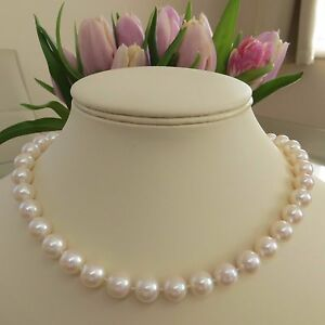 10-11mm White Natural Freshwater Cultered Pearl Strand Necklace With Cage Clasp