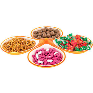 Candy Nuts Snacks Food Party Plate Dish Holder 2 Piece Design 4 Compartments NEW