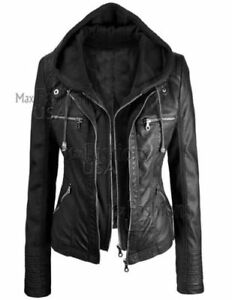 New Women's Black Stylish Real Leather Hoodie Jacket - Detach Hood