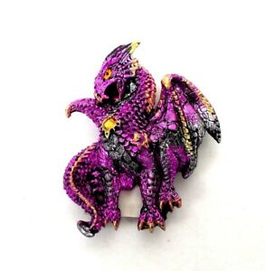 Purple Dragon Refrigerator Magnet 3D Mythical Fantasy Figurine Dragon Statue 1