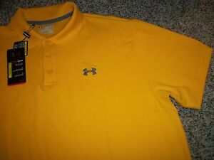 UNDER ARMOUR New NWT Mens 2XL XXL Polo Shirt Yellow Loose Fit Heat Gear
