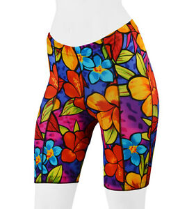 Womens Bright Floral Spandex Tropical Padded Bike Short Cycling Shorts