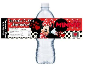 10 RED MINNIE MOUSE CUSTOM BIRTHDAY PARTY FAVORS WATER BOTTLE LABELS WRAPPERS
