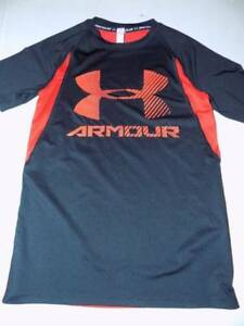 under armour sports shirt dry fit boys size L 12 red black heat gear