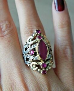 BEAUTIFUL! TURKISH HANDMADE RUBY STERLING SILVER 925K RING SIZE 678910