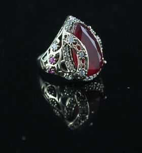 TURKISH HANDMADE RUBY STERLING SILVER 925K BRONZE RING SIZE 678910 #KD1