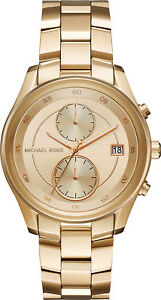 New Michael Kors Women's Briar Multi-Function Gold-Tone Bracelet Watch MK6464