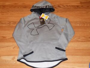 NWT Girl's Youth Medium Gray and Black Under Armour Storm Hoodie 1284876