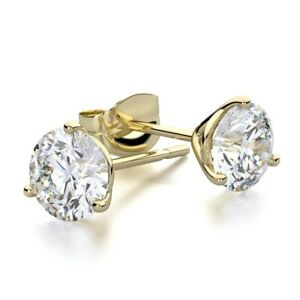 Round Cut White Topaz Stud Martini Earrings In 14K Yellow Gold