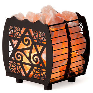 CRYSTAL DECOR Natural Himalayan Wired Cubed Salt Lamp Basket w Dimmable Cord $20.99