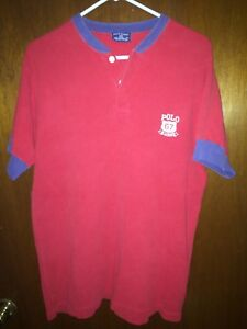 VINTAGE POLO SPORT RL HENLEY T SHIRT KNIT RED BLUE PATCH CREST XL