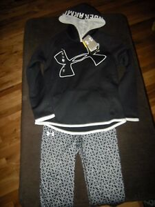 New Girls Black & White Under Armour Hoodie & Compression Pants M