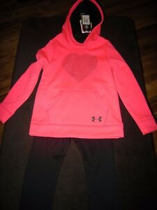 New Girls Pink & Black Under Armour Hoodie Size S & Compression Pants Size 6X