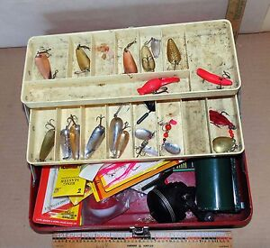 VINTAGE Old Pal Tackle Box - Jonson Reel - Lures - Bait Box & Many Other Tackle
