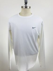 Nike Dry Fit Long Sleeve shirt color white athletic sport shirt size large top