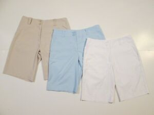 Lot of 3 Nike Golf Fit-Dry Sport Shorts Womens Size 2 Tan Blue White Comfort