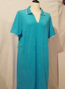 Sport Savvy T-shirt Dress Polo Collar QVC X-Large cotton eyelet shift Light Blue