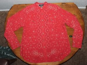 Men's  POLO SPORT    Button Up   Paisley   Western  Shirt   RED  X Large