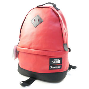 SUPREME  THE NORTH FACE 17 AW Leather Day Pack Backpack RED