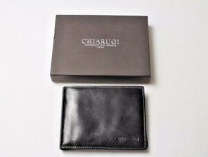 Chiarugi Firenze Italian Leather Men's Bifold Wallet with Coin Pouch in Black
