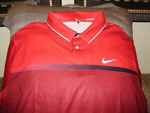 Nike Golf Tiger Woods Collection Dri Fit Stay Cool Red Polo Shirt Men's Size 2XL
