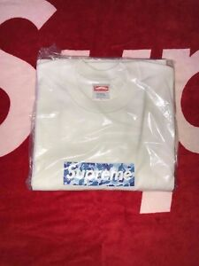 2002 Supreme x Bape Blue ABC Camo Box logo T shirt Size Large DS New Authentic