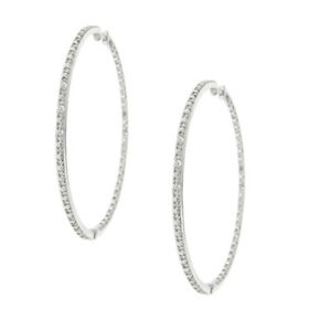 Sterling Silver and Genuine Diamond (0.12 carat) Hoop Earring with Rhodium