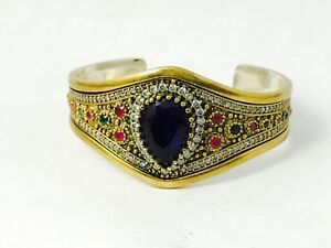 Turkish Handmade Jewelry 925 Sterling Silver Sapphire  Stone Ladies' Bangle(15T)