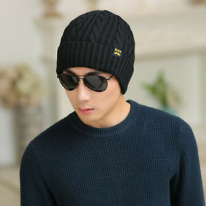 Stretch Knitted Hats Round Top Crimping Warm Caps Autumn Winter Plush Caps RD39