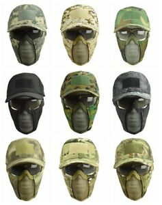Adjustable Tactical Hat with Foldable Half Face Mesh Mask goggles Combat Airsoft