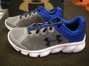 Brand New Boys Gray & Blue Under Armour BPS Assert 6 Tennis Shoes Size 2